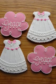 Sweet Treats by Bonnie: Christening Gown / Baptism Dress Decorated Iced Cookies Fancy Cookies, Iced Cookies, Royal Icing Cookies, Cupcake Cookies, Sugar Cookies, Sweet Cookies, Galletas Decoradas Baby Shower, Galletas Cookies, Christening Cookies