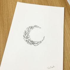 ∥Flower moon∥달 꽃 ∥초승달∥ #illust #tattoo #design #wonseok #tattooist #moontattoo…