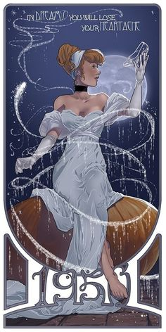 "Mucha style - "" #Cinderella"" "" #DisneyPrincesses"" "" #Disney"" Illustration in style of ""Alphonse Mucha"""
