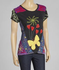 Love this Black & Yellow Embroidered Short-Sleeve Top on #zulily! #zulilyfinds