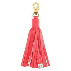 Belkin Lightining to USB Pink Leather Tassel Keychain