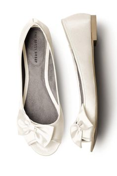 Satin Peep Toe Bridal Ballet Flats by Dessy Collection // shopjoielle.com
