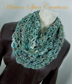 Inspiration - Crocheted Infinity scarf teal scarf