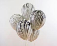 Black White Marble Balloons 11 Black White Agate Balloon by GenWoo