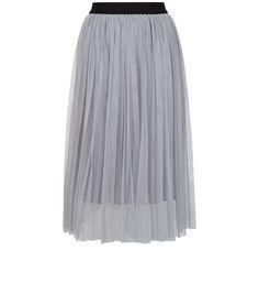Grey Mesh Pleated Midi Skirt  | New Look