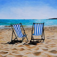 Deckchairs Swanage by artist Andrew McNeile Jones Best Dslr, Beach Cabana, British Seaside, Sanibel Island, Seascape Paintings, Beach Cottages, Watercolor Landscape, Aerial View, Vacation Trips