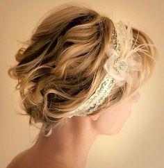 Romantic Short Hair with Headband for Wedding