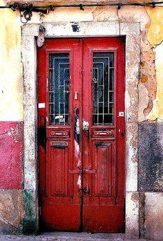 Weathered Red Door.