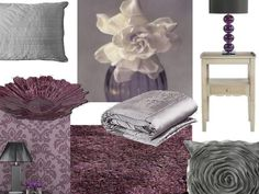 Purple and silver grey bedroom