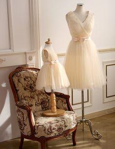 Flower girl dress Tulle Vneck Bridesmaid dress by Jammyfingers, $65.00