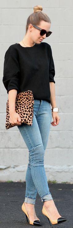 Blue Denim Quilted Knee Skinnies, black sweater, leopard handbag and heels. Latest fall fashion