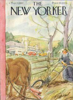 New Yorker cover Barlow farmer mod house 5/17 1947 The Ju...