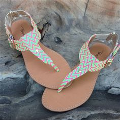 Green and Pink Chevron Sandal. Cute for summer.