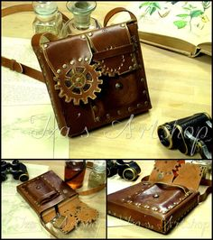 deviantART: More Like Steampunk Leather Pouch III by ~izasartshop