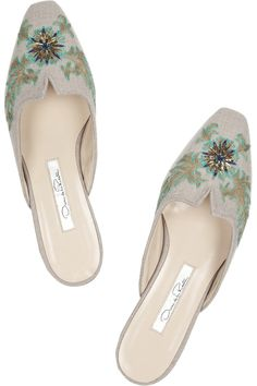 Oscar de la RentaGeryny embroidered wool slippersclose up