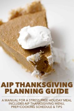 This AIP Thanksgiving Planning Guide is meant to be a manual for a stress free holiday meal. It includes a AIP Thanksgiving menu, a prep and cooking schedule as well as additional tips to make this Thanksgiving the best Thanksgiving. Thanksgiving Desserts Easy, Great Desserts, Fall Desserts, Dessert Recipes, Thanksgiving Sides, Paleo Recipes, Dinner Recipes, Dessert Ideas, Free Recipes