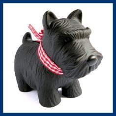 Black Mini Black Scotty Dog Plastic Coin Bank