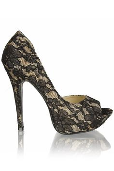 Lace Platform Peep Toe Heels  £30.00  These stunning lace platform peep toe heels add glamour, desire and style to any outfit - you'll be turning heads in these where ever you go! The red 1 look better