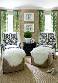 "Window treatments: Kelly Wearstler ""Imperial Trellis"" print in Treillage/Ivory; Chairs: ""Chenonceau"" print in Charcoal"