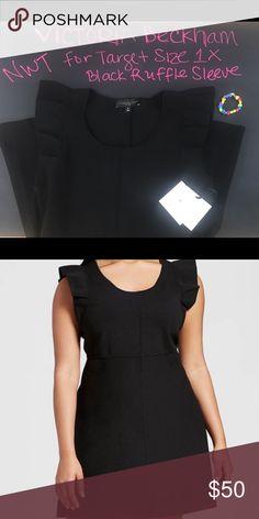 "Plus Black Beckham Target Sweater Knit Dress 1X Brand new Plus Size X1 Black Ruffle Sleeve Sweater Knit Dress - Victoria Beckham for Target stretchy knit fabric flattering empire waistline! Bust 40"" Waist 36"" Hip 42"" shoulder to Hem 35"". Material 48% Polyester 46% Nylon 6% Spandex.  Thank you for choosing to shop my closet! Victoria Beckham for Target Dresses Midi"
