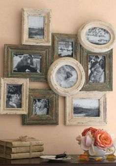 We always think we need to space pictures but this approach is very appealing and adds an extra element of design. Repurpose those old mismatched frames, just need to attach them together! ------------------- #galley #wall #repurposed #picture #frames #tips #diy