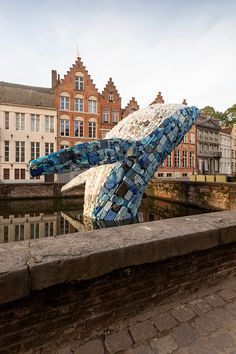 A Massive Five-Ton Plastic Waste Whale Against Ocean's Pollution In Bruges