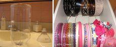 Recycled plastic soda bottles for headband storage.