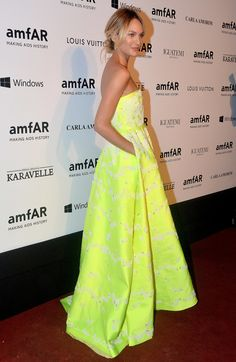 Candice Swanpoel at the 2014 amFAR Inspiration Gala