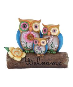 Look at this 'Welcome' Owl Family Garden Statue on #zulily today!