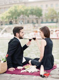 Engagement Paris Anniversary Session Pre Wedding Louboutin So Kate Black Dress Picnic chic wine french baguette