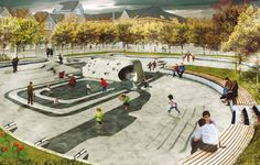 "Stunning stormwater park concept ""Waterpleinen"" for Rotterdam, Netherlands."