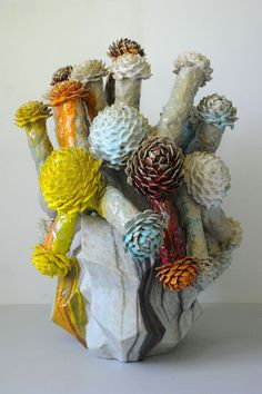 "Matt Wedel, Artist, Flower tree, 2011, fired clay and glaze, 36 ½ x 26""x 26"""