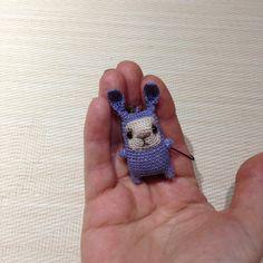 Little crochet blue bunny keychain amigurumi bag charm от LozArts
