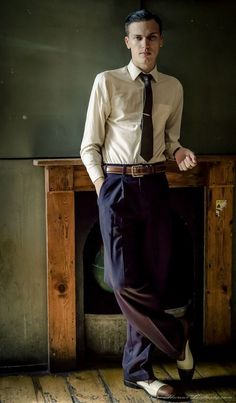 Our navy peg trouser are based on a pair of 50s originals