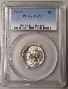 """1942-S Silver Jefferson """"War"""" Nickel graded MS65 Mint State by PCGS"""