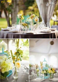 Clear bottles, painted bird cages, and simple flowers at a sweet, vintage-like, teal and yellow wedding.... Maybe not the bird cage but like the other stuff