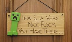 Minecraft Creeper Inspired Wooden Door Plaque by IntheWitchwood, £7.99
