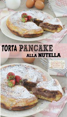 TORTA PANCAKE ALLA NUTELLA un mega pancake con un cuore cremoso e goloso