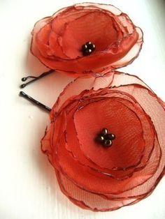 Copper Organza Flower Hair Pins by Nomsa on Etsy Fabric Flower Headbands, Fabric Flower Brooch, Organza Flowers, Felt Flowers, Diy Flowers, Flowers In Hair, Fabric Flowers, Paper Flowers, Flower Hair