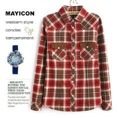 wholesale Hot sale Korean patch lapel pockets grids blouses BD-C0976
