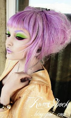 """""""Wearing Royal Flush, Absinthe-Minded and Mercurious on my eyes, eyebrows done with Ribbonesque! Also wearing D'lilac lipstick!""""    All using Palette d'Antoinette by Lime Crime."""