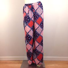 """Patchwork Palazzo Pants Brand new with tags. Vintage-inspired hippie chic patchwork pants in red, white & blue. Adorable! Heavy weight semi-sheer polyester chiffon fabric, soft & flowy. Features wide legs, elastic waistband, & built-in modesty shorts. Waist:25"""" unstretched: Stretches comfortably up to 32"""". Rise:12"""". Hips:48"""". Inseam:29.5"""". Leg opening at hem:14"""". ❤️ Rue 21 Pants Wide Leg"""
