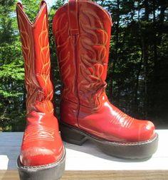 W7 red Vintage Platform F-Soles Cowboy Boots!