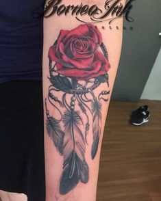 A rose and a dream catcher on ms Michiko.#neotrad #neotraditional…