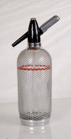 Vintage 1940s Glass Barware Seltzer by TreasureTroveDepot on Etsy, $45.00