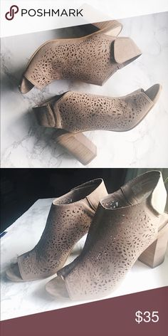Suede Wedges! Beautiful taupe Suede wedge heels, with laser cutout details and a Velcro strap. Very cute and comfy, perfect for every season! Shoes