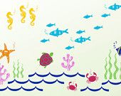 PROMOTIONOcean Kids Wall Decals Crab Tuna Fish Star by KikiDecal