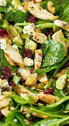 Cranberry Avocado Spinach Salad with Chicken and Orange Poppy Seed Dressing -- skip the cheese.