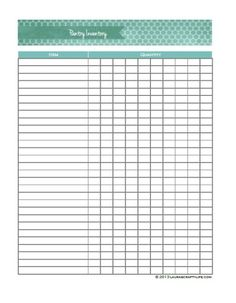 Kitchen Inventory Sheets   Download Freezer and Pantry Inventory