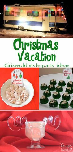 Have to do this next Christmas! Looking to have a Christmas Vacation party - Griswold style? This party was a blast. Easy and fun ideas to have an awesome movie-themed Christmas Party - Design Dazzle Christmas Movie Night, Lampoon's Christmas Vacation, Christmas Party Themes, Cheap Christmas Gifts, Thoughtful Christmas Gifts, Christmas On A Budget, Noel Christmas, Holiday Fun, Tacky Christmas Party